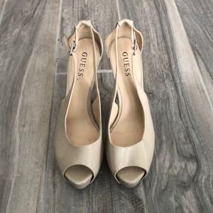 Guess PeepToe Nude Heels